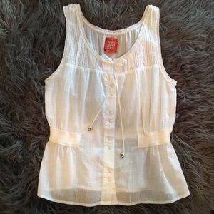Free People | Lace White Button-Up Tank
